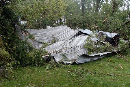 Quonset blown to Bryan yard Image
